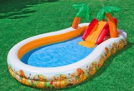 Надувной бассейн с горкой для детей